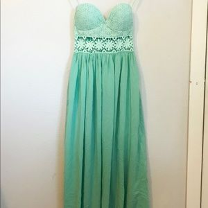 Strapless Teal Maxi dress